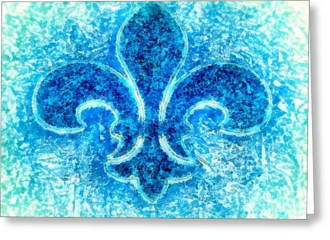 Turquoise Bleu Fleur De Lys Greeting Card