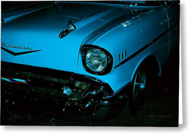 Turquoise Chevy Greeting Card by DigiArt Diaries by Vicky B Fuller