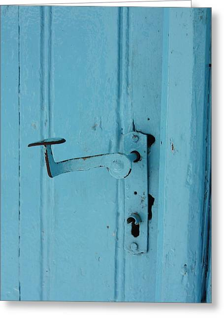 Turquoise Door 02 Greeting Card by Yvonne Ayoub