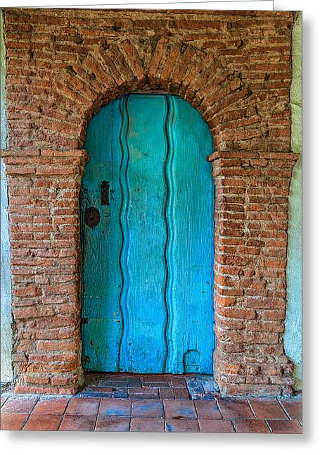 Turquoise Door Greeting Card by Thomas Hall