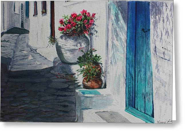 Turquoise Door Greeting Card by Yvonne Ayoub