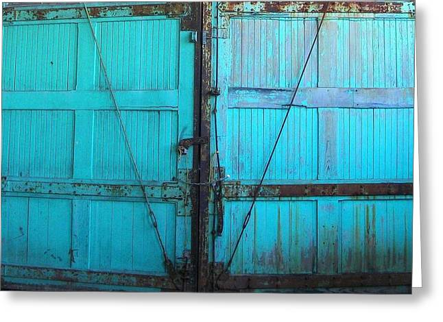 Turquoise Doors Greeting Card