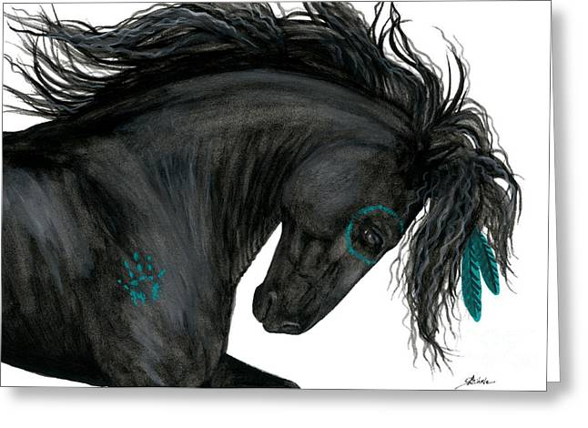 Turquoise Dreamer Horse Greeting Card by AmyLyn Bihrle