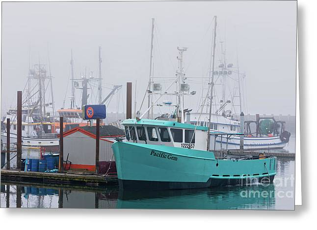 Turquoise Fishing Boat Greeting Card by Jerry Fornarotto