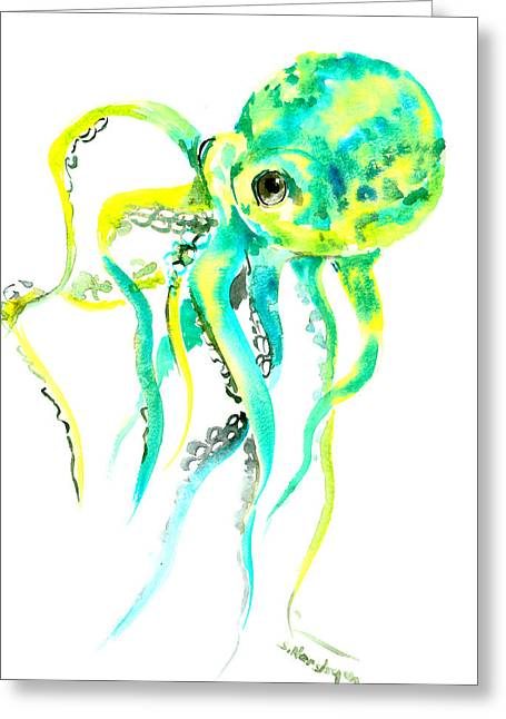 Turquoise Green Octopus Greeting Card by Suren Nersisyan