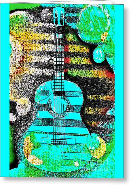 Turquoise Guitar By Jasna Gopic Greeting Card by Jasna Gopic