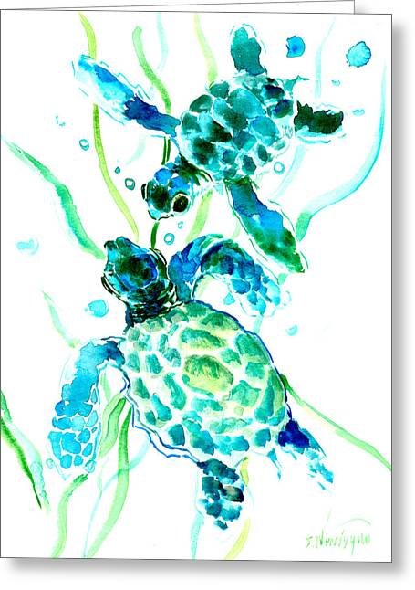 Turquoise Indigo Sea Turtles Greeting Card by Suren Nersisyan