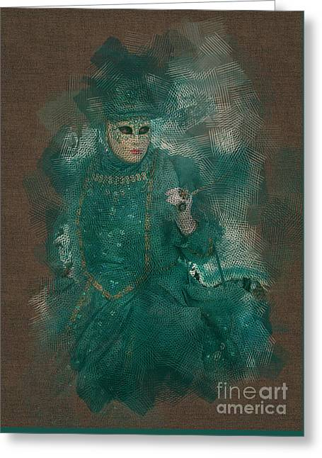 Turquoise Lady Venice Carnival Greeting Card