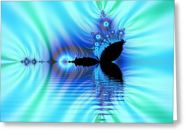 Turquoise Lake Fractal Greeting Card