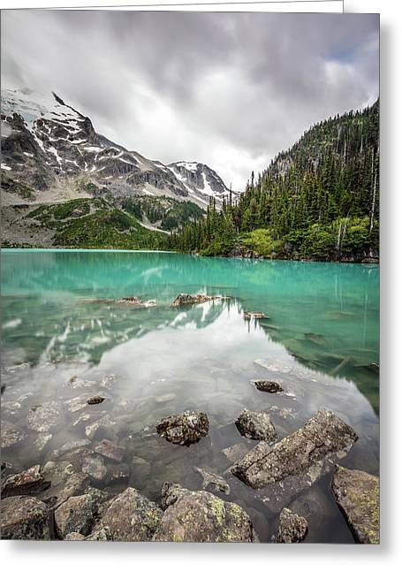 Greeting Card featuring the photograph Turquoise Lake In The Mountains by Pierre Leclerc Photography