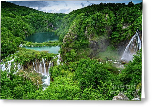 Turquoise Lakes And Waterfalls - A Dramatic View, Plitivice Lakes National Park Croatia Greeting Card