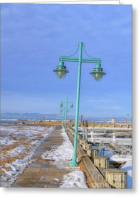 Turquoise Lampposts Greeting Card by Elizabeth Dow
