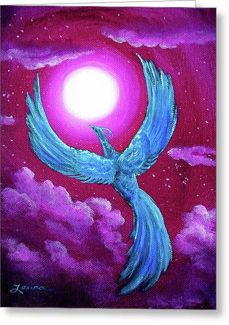 Turquoise Moon Phoenix Greeting Card by Laura Iverson