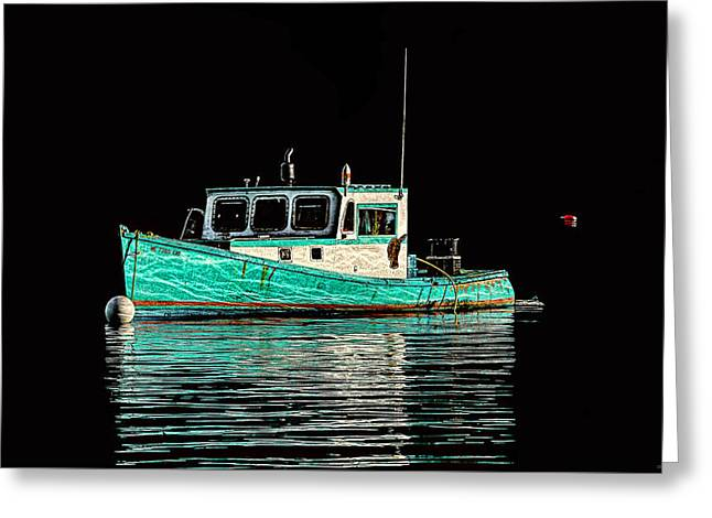 Turquoise Lobster Boat At Mooring Greeting Card by Marty Saccone