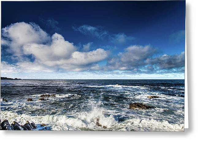 Greeting Card featuring the photograph Turquoise Pacific Ocean Sea Water Rolling Waves And Rock With Bl by Jingjits Photography
