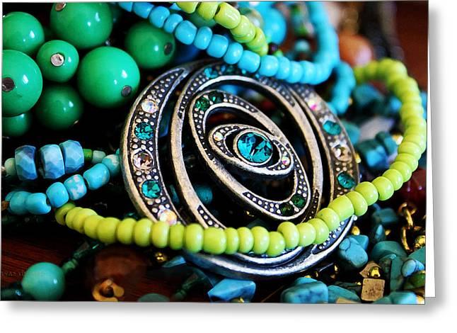 Turquoise Playthings Greeting Card by Susan Vineyard