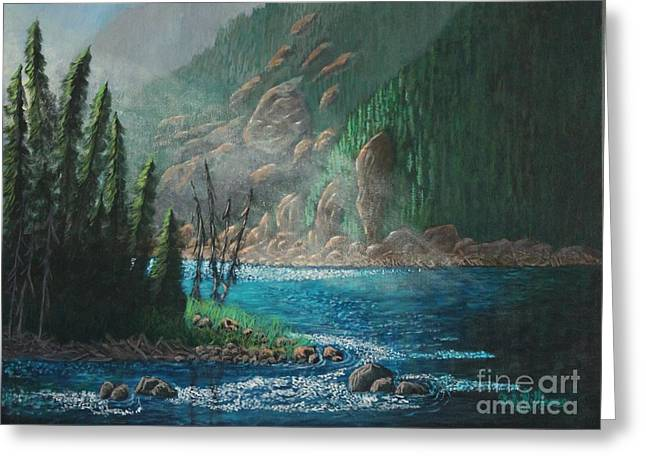 Turquoise River Greeting Card