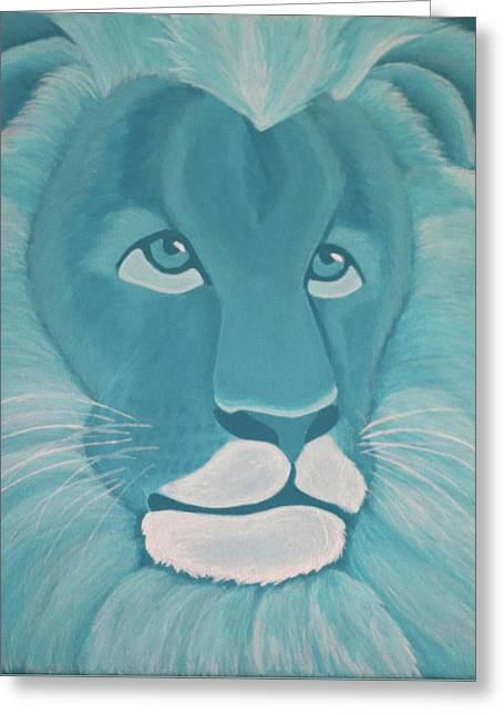 Turquoise Lion Greeting Card