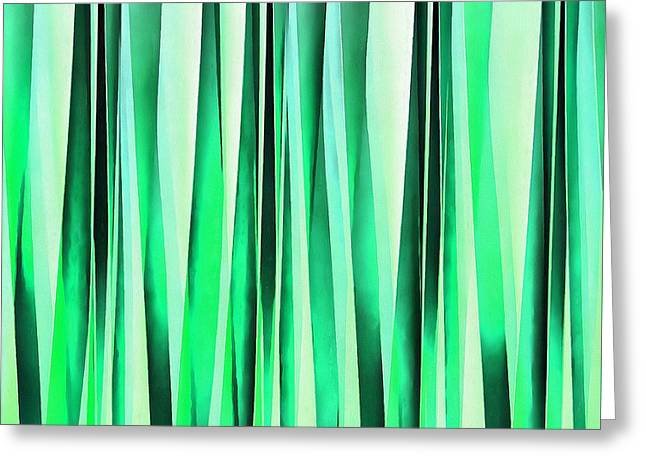 Turquoise Serenity Stripy Pattern Greeting Card by Tracey Harrington-Simpson