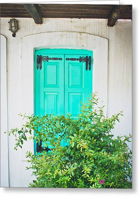 Turquoise Shutter Greeting Card by Tom Gowanlock