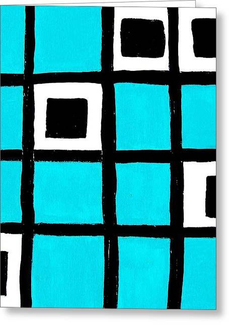 Turquoise Squares Greeting Card by Marsha Heiken