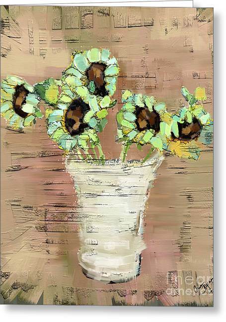 Turquoise Sunflowers Greeting Card by Carrie Joy Byrnes
