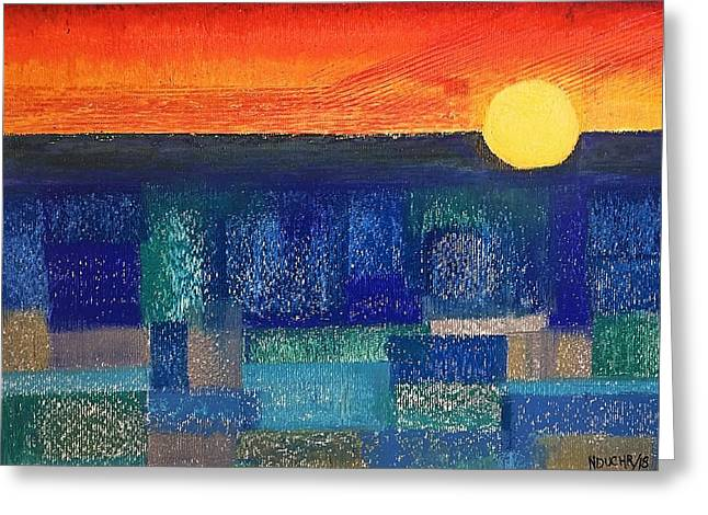 Turquoise Sunset Greeting Card