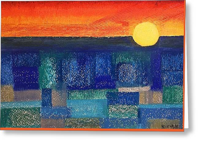 Greeting Card featuring the painting Turquoise Sunset by Norma Duch
