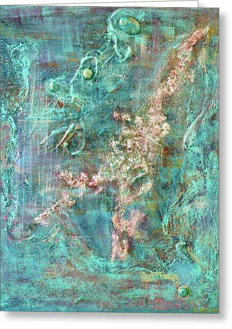 Turquoise Universe Greeting Card by Lynn Watters