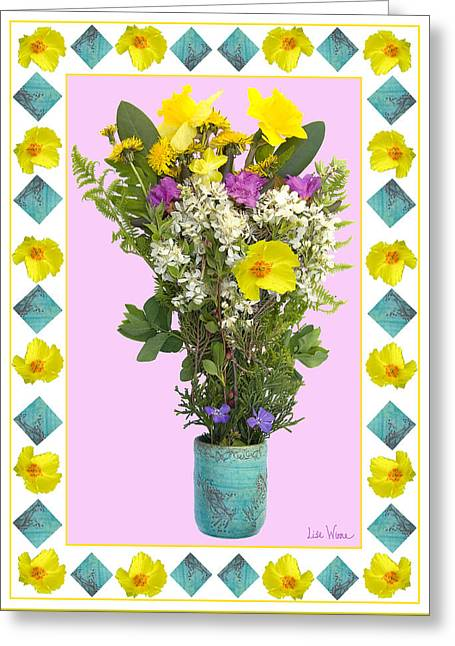 Turquoise Vase With Spring Bouquet Greeting Card by Lise Winne