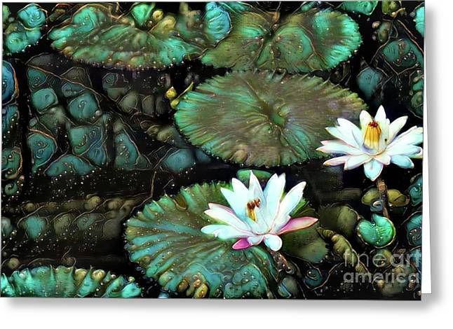 Turquoise Waterlilies 1 Greeting Card