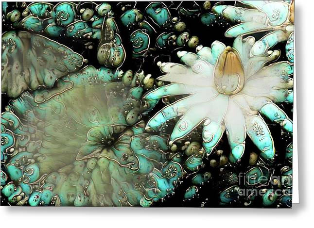 Turquoise Waterlilies 3 Greeting Card
