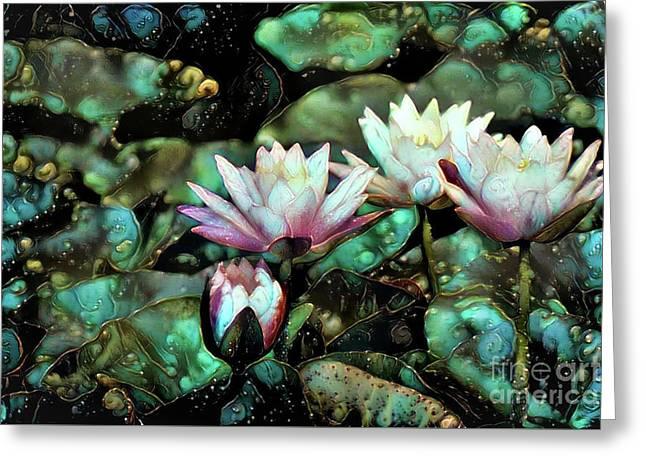 Turquoise Waterlilies 6 Greeting Card