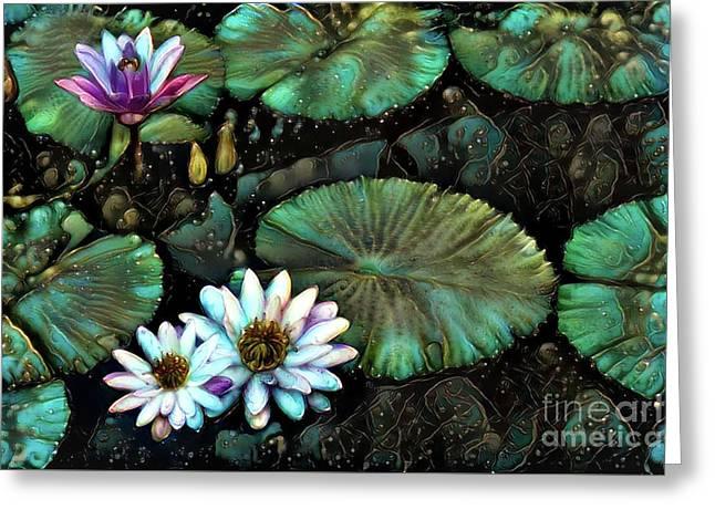 Turquoise Waterlilies 8 Greeting Card