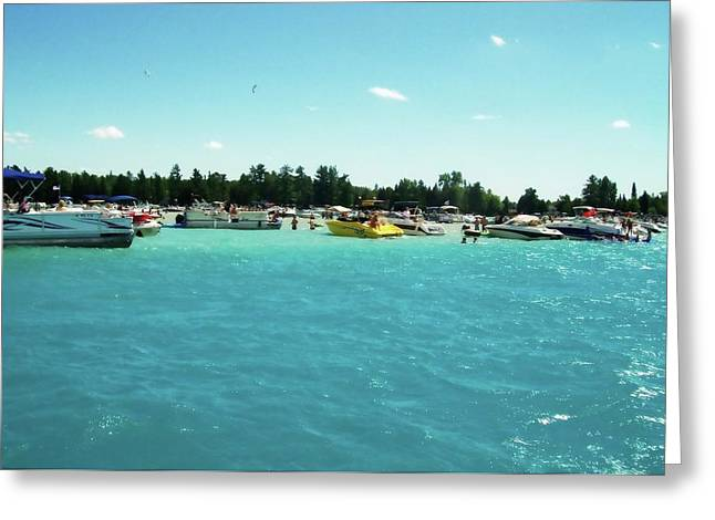 Turquoise Waters At The Torch Lake Sandbar Greeting Card