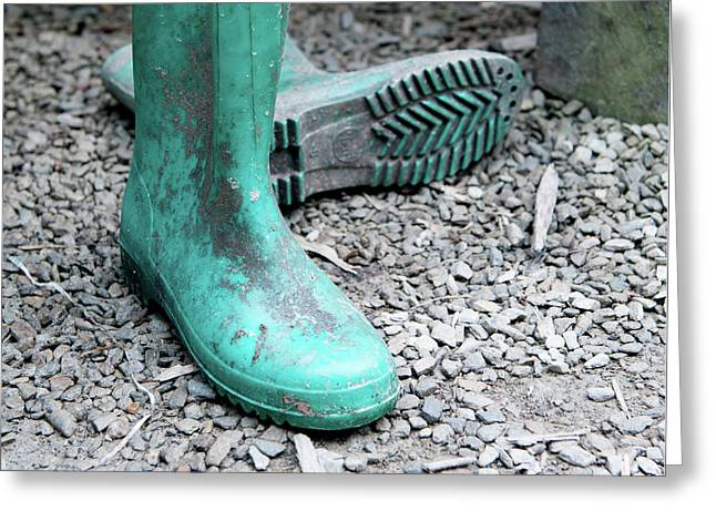Turquoise Wellies Greeting Card