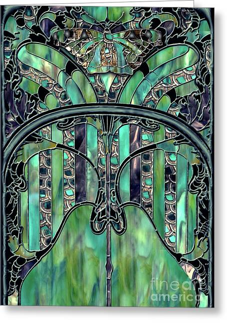 Turquoise Window Jewels Greeting Card by Mindy Sommers