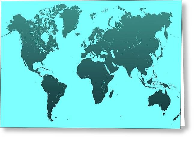 Turquoise World Map Greeting Card
