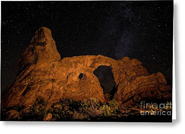 Greeting Card featuring the photograph Turret Arch And The Milky Way - Utah by Gary Whitton