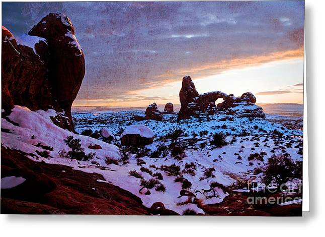 Turret Arch Red V Greeting Card by Irene Abdou