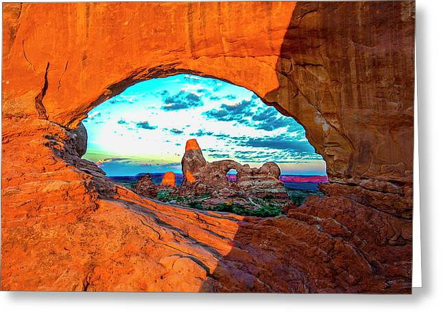 Greeting Card featuring the photograph Turret Arch Through Window by Norman Hall