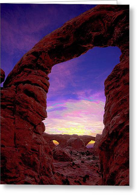 Greeting Card featuring the photograph Turret Arch To Windows by Norman Hall
