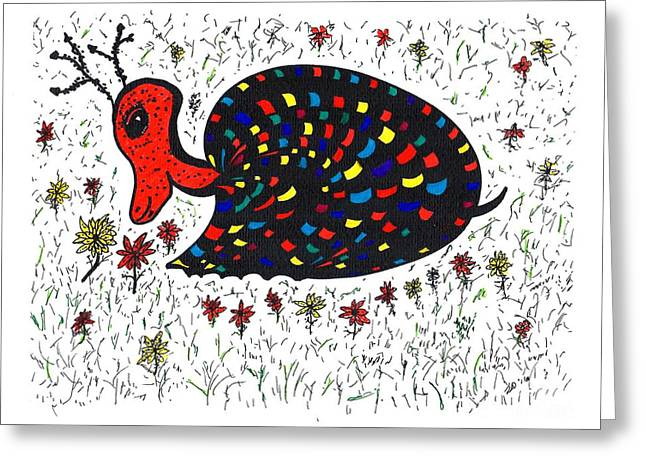 Snurtle Snail Turtle And Flowers Greeting Card