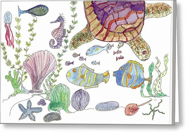 Turtle And Sea Life Greeting Card
