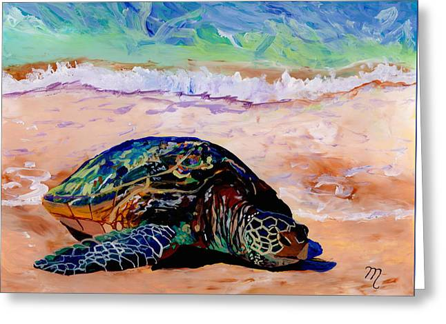 Turtle At Poipu Beach 9 Greeting Card by Marionette Taboniar