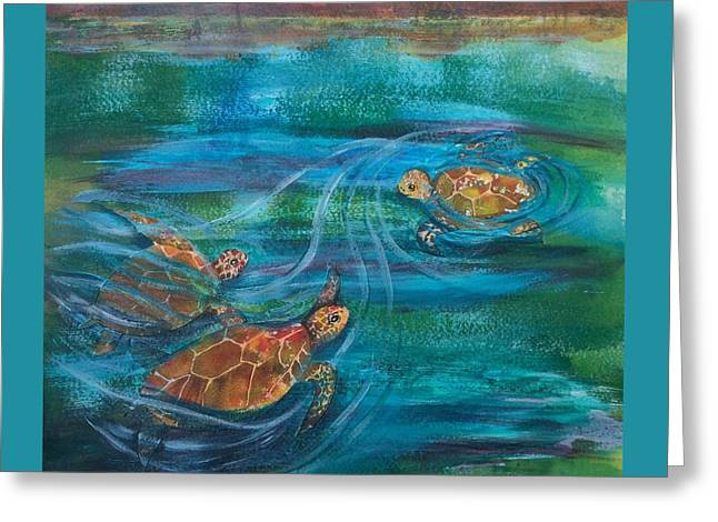 Turtle Ballet Greeting Card by Bonnie Rabert