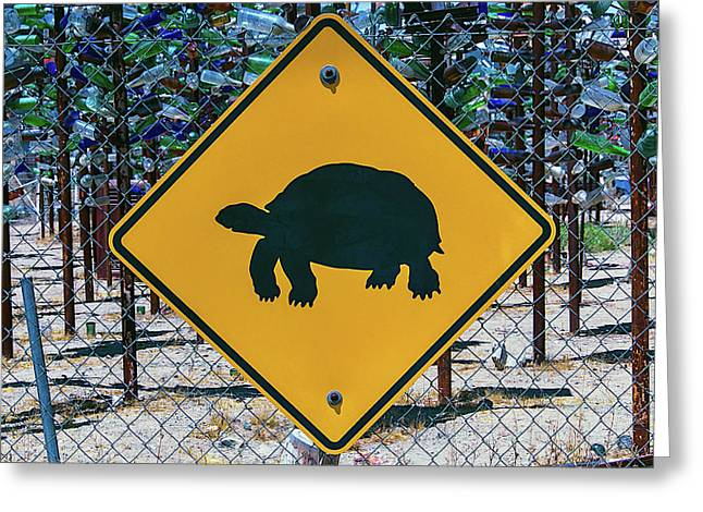 Turtle Crossing Sign Greeting Card by Garry Gay