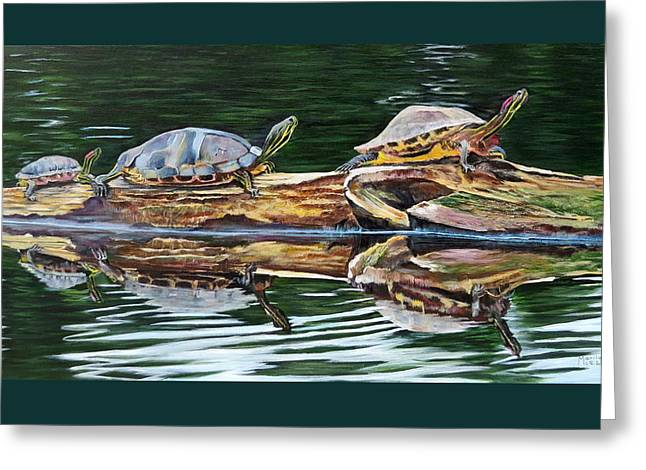 Turtle Family Greeting Card by Marilyn  McNish