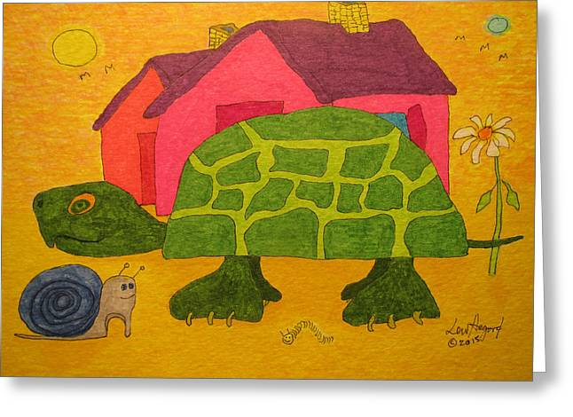 Turtle In Neighborhood Greeting Card