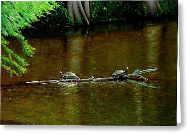 Doug Strickland Greeting Cards - Turtle Log Spa Greeting Card by Doug Strickland
